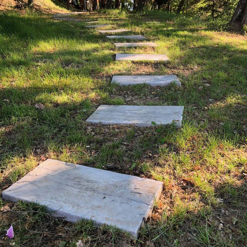 Allée En Pas Japonais pas japonais de jardin en pierre reconstituée chêne blanchi