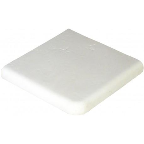 Margelle en pierre reconstituée plate angle sortant 25 x 25 x 4 cm blanc