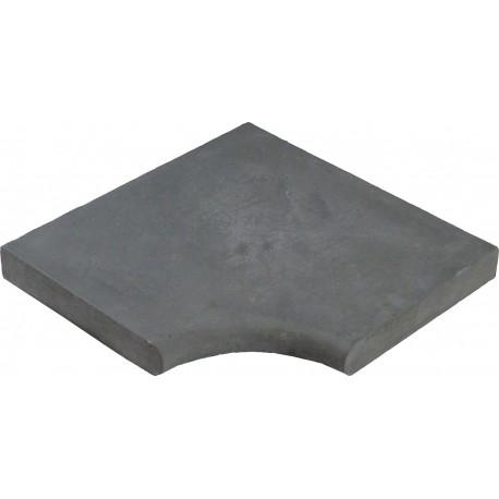 Margelle en pierre reconstituée plate angle rentrant 25 x 25 x 4 cm gris anthracite
