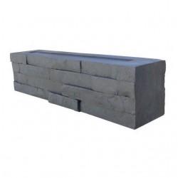Bloc muret en pierre reconstituée 2 faces 50 x 9 x 10 cm graphite