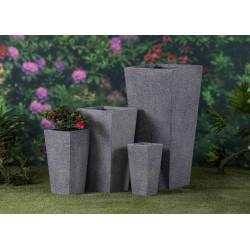 Jardinière en fibre et pierre conique 19 x 19 x 38 cm gris anthracite