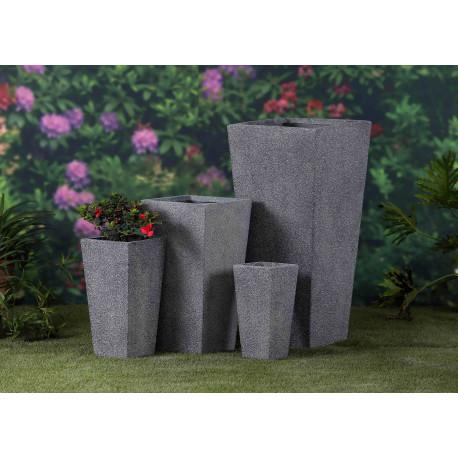 Jardinière en béton fibré conique 42 x 42 x 90 cm gris anthracite