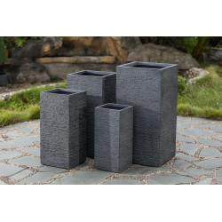 Jardinière en fibre et pierre carrée 22,5 x 22,5 x 50 cm gris anthracite