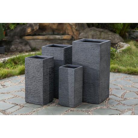 Lot de 4 jardinières en béton fibré carrées gris anthracite