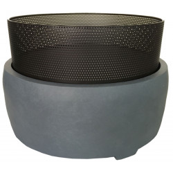 Braséro d'extérieur Moorea en fibre et acier rond 55 x 55 x 37,5 cm