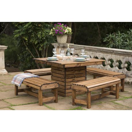 Table de jardin carrée en bois et ses 4 bancs