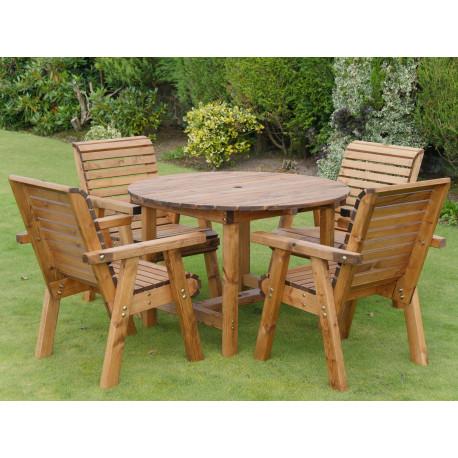 Table de jardin ronde en bois et ses 4 chaises