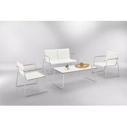 Salon de jardin Tilos en inox et tissu blanc