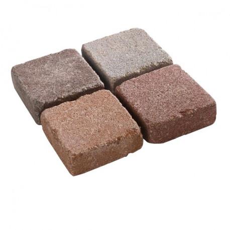 Pavé en béton vieilli 10 x 10 x 3,7 cm nuancé brun par palette de 9,6 m2