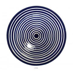 Assiette creuse ronde en céramique Ø : 23 cm bleue et blanche