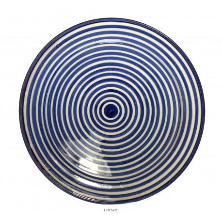 Assiette creuse ronde en céramique Ø : 27,5 cm bleue et blanche