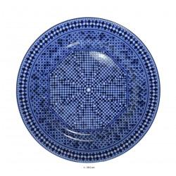Assiette plate ronde en porcelaine Ø : 20,5 cm bleue