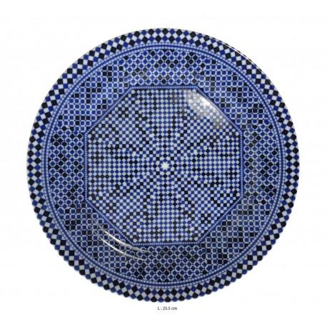 Assiette plate ronde en porcelaine Ø : 25,5 cm bleue