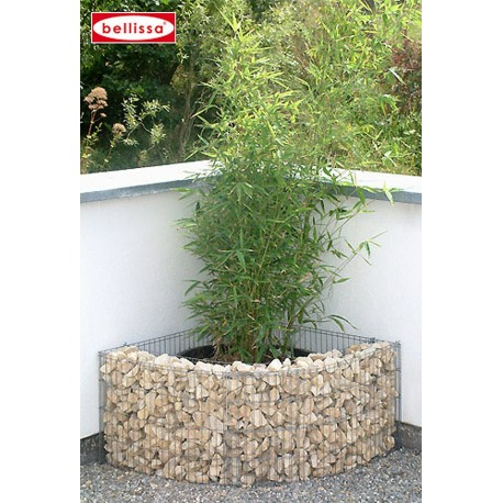 Jardini re angle gabion avec galets for Decoration jardin gabion