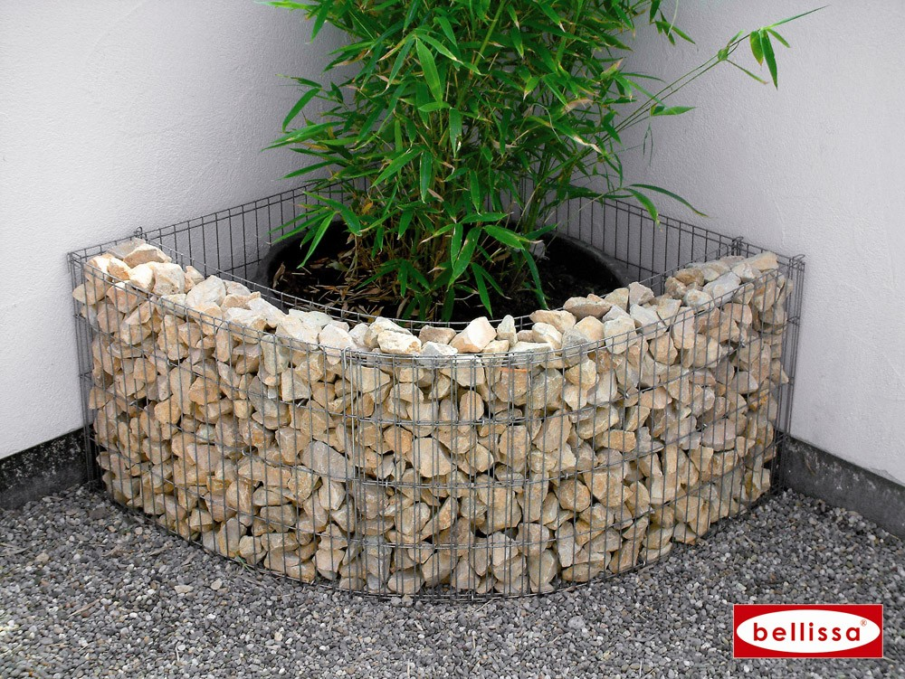 jardini re angle gabion avec galets. Black Bedroom Furniture Sets. Home Design Ideas