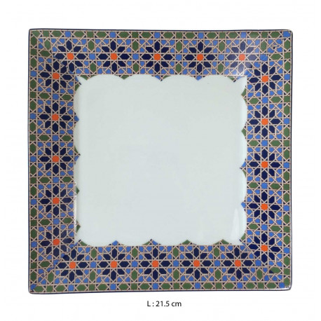 Assiette plate carrée en porcelaine 21,5 x 21,5 cm blanche