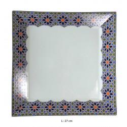 Assiette plate carrée en porcelaine 27 x 27 cm blanche