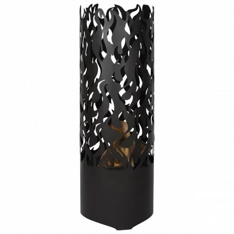 Braséro de jardin en acier cylindrique 39 x 39 x 118 cm motifs flammes
