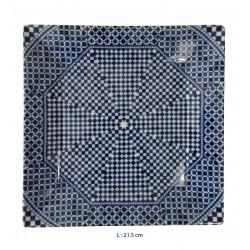 Assiette plate carrée en porcelaine 21,5 x 21,5 cm bleue
