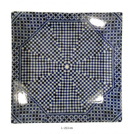 Assiette plate carrée en porcelaine 25,5 x 25,5 cm bleue