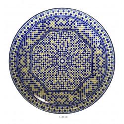 Assiette plate ronde en porcelaine Ø : 25 cm bleue