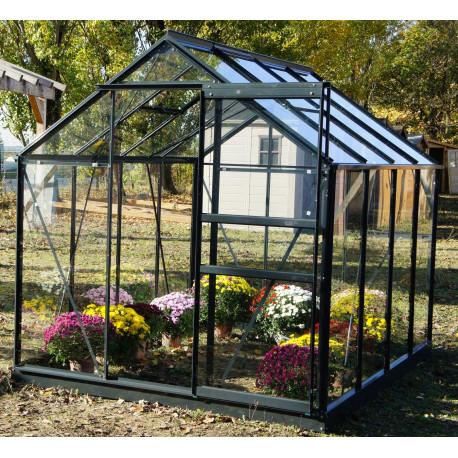 Serre de jardin en verre trempé 4,65 m2 gris anthracite