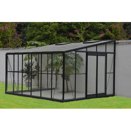 Serre de jardin adossable en verre trempé 11,85 m2 gris anthracite