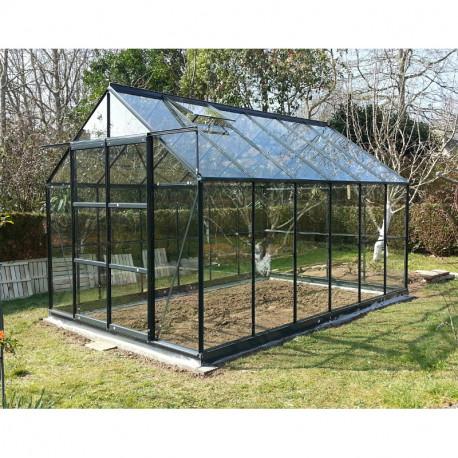 Serre de jardin en verre trempé 8,88 m2 gris anthracite