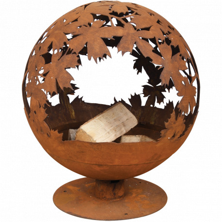 Braséro de jardin en acier corten 58 x 55,8 x 65,2 cm motifs feuilles