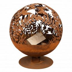 Braséro de jardin en acier corten 57 x 58 x 66 cm motifs fleurs