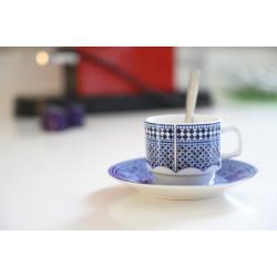 Tasse pour petit déjeuner en porcelaine 5 cl, bleue
