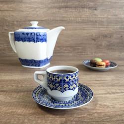Tasse pour petit déjeuner en porcelaine 7,5 cl, bleue et kaki