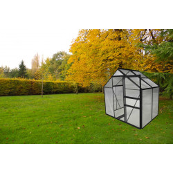 Serre de jardin en polycarbonate 2,28 m2 gris anthracite