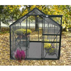 Serre de jardin en verre trempé 5,76 m2 gris anthracite