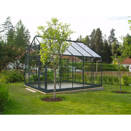 Serre de jardin en verre trempé 7,42 m2 gris anthracite