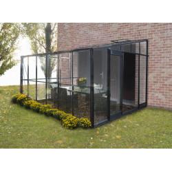 Serre de jardin adossable en verre trempé 7,22 m2 gris anthracite