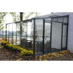 Serre de jardin adossable en verre trempé 9,60 m2 gris anthracite