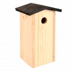 Nichoir de jardin pour mésanges et moineaux en bois d'épicéa brut labélisé FSC – 13,7 x 17 x 28,3 cm