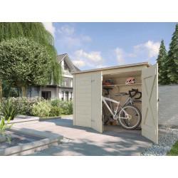 Abri pour vélos et poubelles avec une porte double en épicéa brut - 84 x 205 x 151 cm