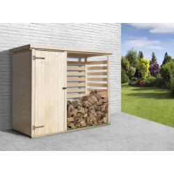 Abri bûches avec armoire en épicéa brut - 90 x 240 x 193 cm