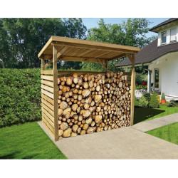 Abri bûches en pin traité en autoclave - 114 x 216 x 204 cm