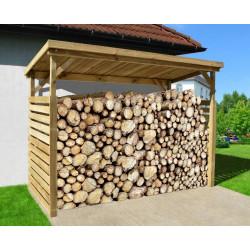 Abri bûches en pin traité en autoclave - 114 x 264 x 204 cm
