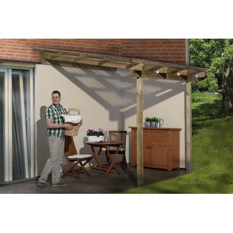 Pergola en pin à adosser imprégnation en autoclave - 231 x 199 x 267 cm - 4.6 m²