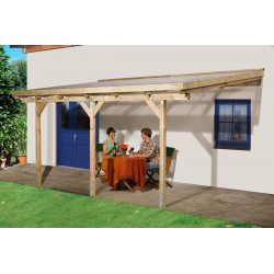 Pergola en pin traité autoclave de 8 m² - 231 x 347 x 267 cm - Toit en plastique transparent