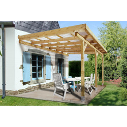 Pergola à toit plat en bois traité autoclave – 279 x 427 x 271 cm – 12 m²