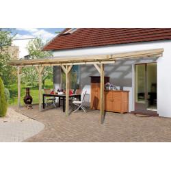 Pergola en pin traité autoclave avec toit en PVC de 16 m² - 579 x 279 x 271 cm