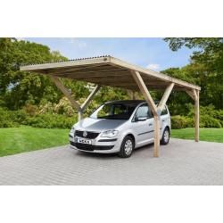 Abri de voiture simple en bois traité autoclave – 300 x 362 x 250 cm – Toiture acier galvanisé