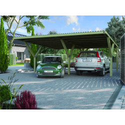 Carport garage double avec un toit en acier 588 x 362 x 250 cm - Superficie 21,29 m²
