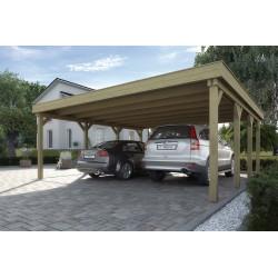 Carport double pour véhicules en bois traité autoclave - 591 x 576 x 240 cm - Toiture acier galvanisé