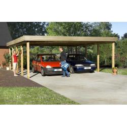 Carport double en pin traité avec toit plat – 784 x 604 x 240 cm pour 45 m²